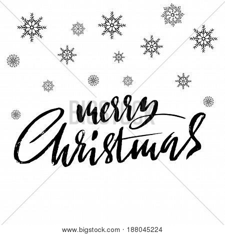 Hand drawn phrase Merry Christmas. Modern dry brush lettering design for posters, cards, invitations, stickers, banners, ets. Vector typography illustration