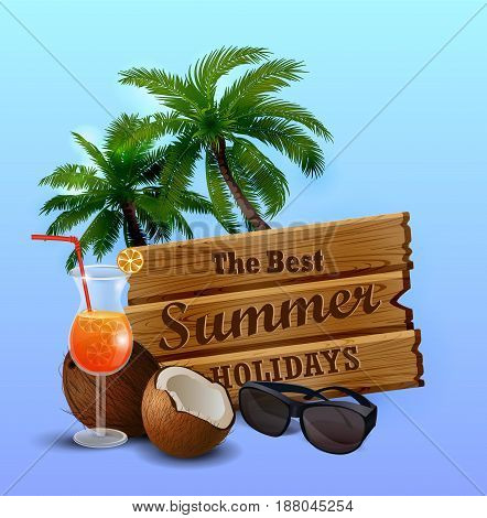 wooden board isolated with sunglasses and exotic beverage and cocnuts clip-art vector