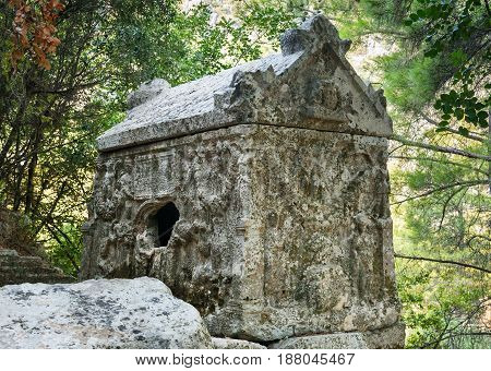 Alkestis Sarcophagus. Ruins Of Ancient City Olympos In Lycia. Turkey