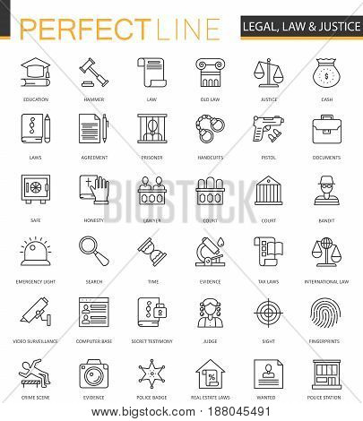 Black classic web Law and justice icons set