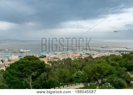 Panoramic aereal view of Palma de Mallorca club de mar, Sea club. Bay harbor with many sailboats and Luxury cruises, Spain