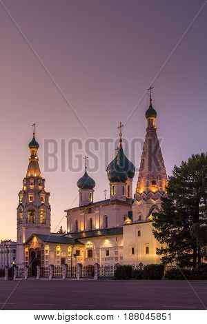 One of the most famous Yaroslavl churches is the Church of Elijah the Prophet. Evening view with illumination. Summer. The city of Yaroslavl. Russia