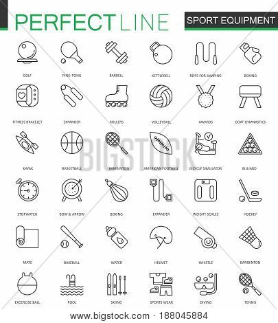 Sport equipment thin line web icons set. Outline stroke icons design