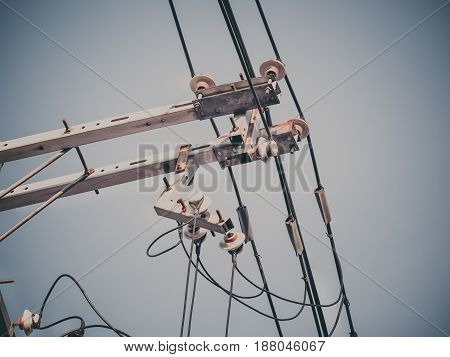 Electric pole with electric transformers and electrical cables in Osaka city, Japan
