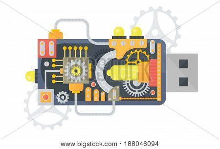 Vector illustration of USB flash drive with different small gears and lamps inside