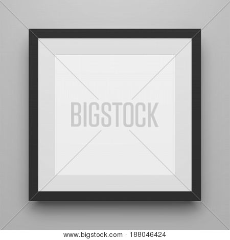 Black square Image Frame vector Template with Shadow