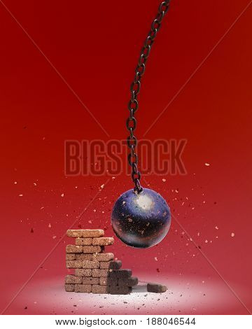 Wrecking ball destroying the brick wall 3D illustration