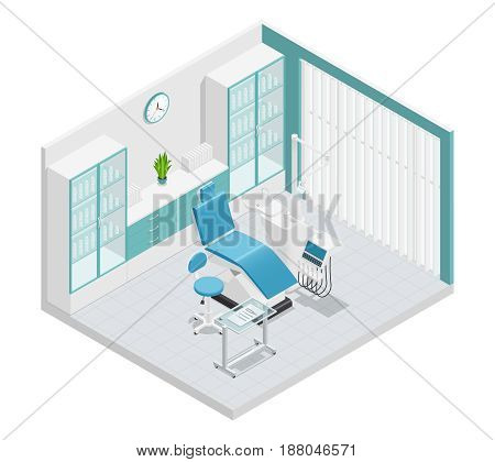 Stomatology dentistry isometric 3 d cabinet composition with furniture and work attributes vector illustration