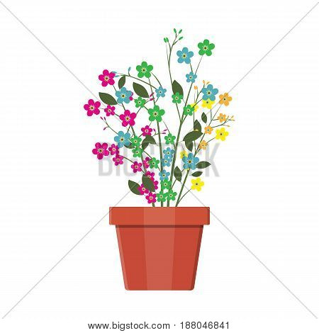 Flower plant in flower pot. Decoration home plant. Vector illustration in flat style