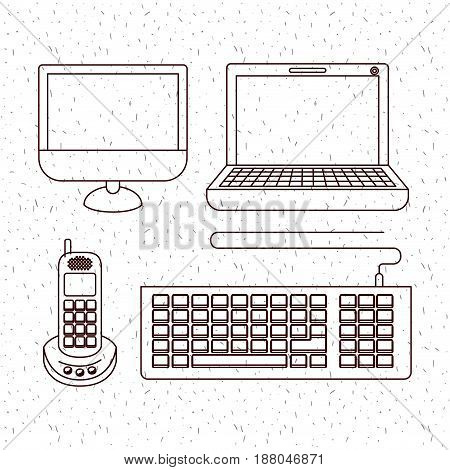 white background with sparkles and silhouette computer and phone office tech vector illustration