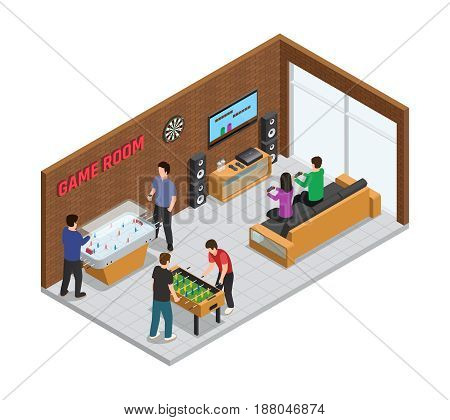 Home game club interior isometric composition cozy room for relaxation with board and video games vector illustration
