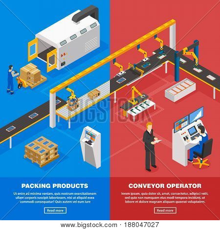 Conveyor line isometric vertical banners set with packing symbols isolated vector illustration