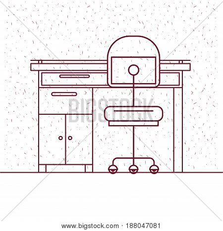 white background with sparkles and silhouette work place office interior vector illustration