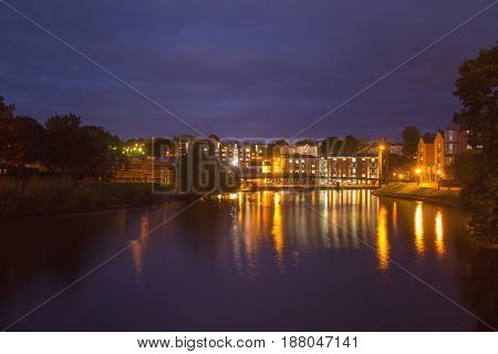 Exeter Quay. Night view of the embankment in the area of Custom House. Devon. England