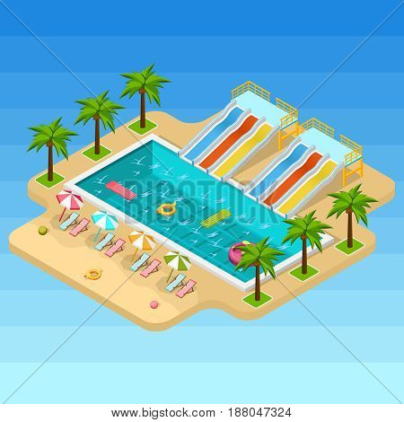 Isometric aqua park composition looks like isolated island in the middle of the sea vector illustration