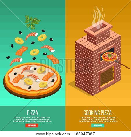 Two vertical pizza baking banner set with cooking pizza headline and read more buttons vector illustration