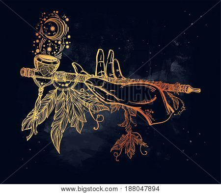 Human hand smoking magic pipe of peace. Beautiful romantic crescent moon with flowers and feathers. Spiritual cult and witchcraft concept design, Elegant tattoo artwork. Isolated vector illustration.