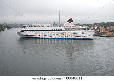 STOCKHOLM, SWEDEN - AUGUST 29, 2016: A sea cruise ferry