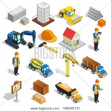 Construction isometric icons collection of isolated building equipment with images of workers machinery and constructional supplies vector illustration