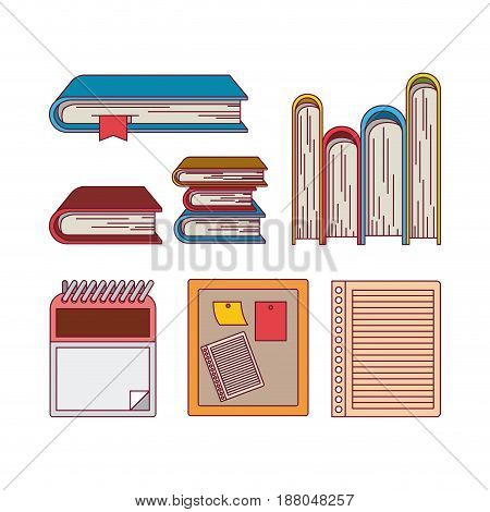 white background with color silhouette set books office vector illustration