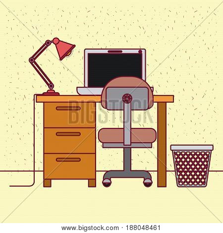 color background with sparkles and work place home office interior vector illustration