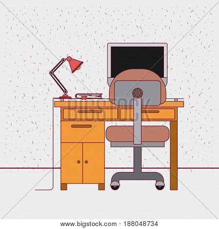 color background with sparkles and work place home office interior with book vector illustration