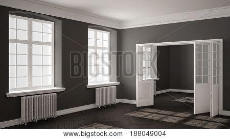 Empty room with parquet floor big windows doors and radiators white and gray interior design, 3d illustration