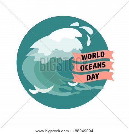 World Ocean Day card. Vector illustration. Creative abstract  poster. Suitable for banner, campaign, and greeting card.