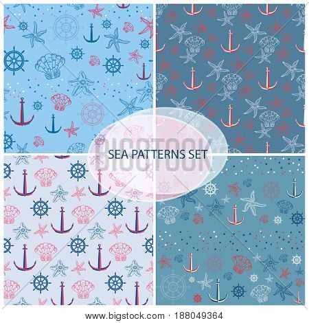 Seamless pattern set with sea themed accessory helm, shell, starfish and anchor. Retro patterns set on light blue and dark blue background.