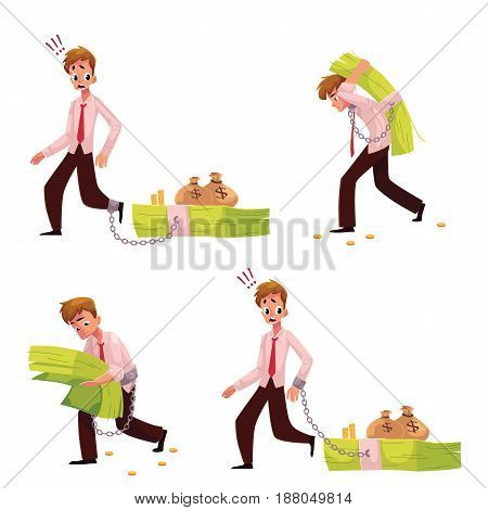 Man chained to, carrying, holding bundle of banknotes, financial, money dependence concept, cartoon vector illustration isolated on white background. Man with big bundle of money, financial dependence