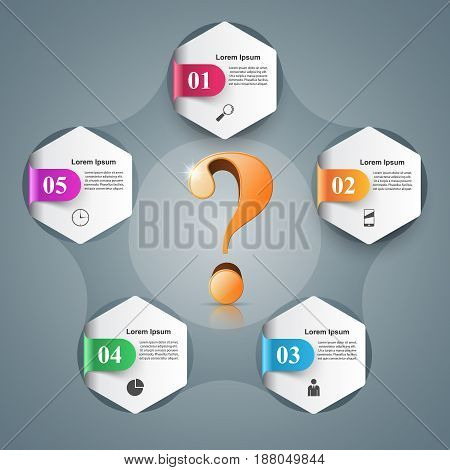 Business infographics. Question mark. Marketing color info