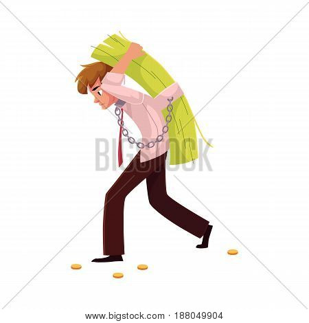 Man carrying bundle of banknotes on his back, money dependence, cartoon vector illustration isolated on white background. Man chained to bundle of banknotes he carries on back, financial dependence