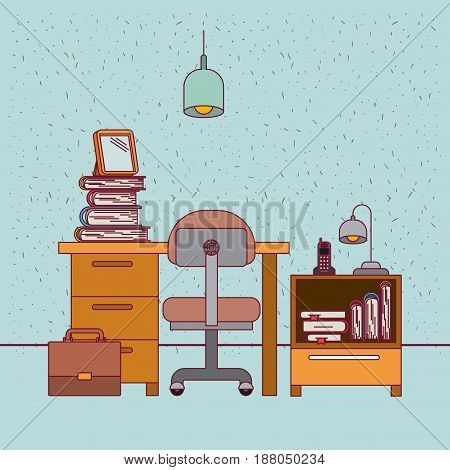 color background with sparkles work place office interior with nightstand with phone lamp and books vector illustration