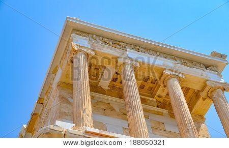 Parthenon temple in Acropolis at Athens Greece - travel background Greece Athens Acropolis