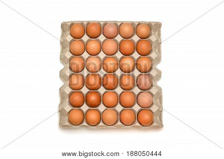 Isolated Tray Of Eggs On White Background