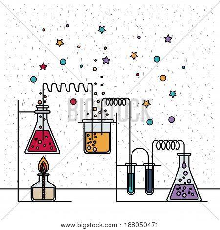 white background with sparkles and scene of chemical laboratory with an experiment in process vector illustration
