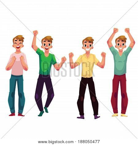 Young man, boy, guy, rejoicing, cheering, celebrating, raising clenched fists over head, cartoon vector illustration isolated on white background. Full length portrait of happy rejoicing young man