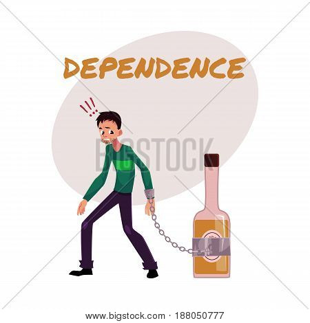 Financial dependence poster, banner template with man standing with hand chained to bottle of liquor, alcohol dependence, cartoon vector illustration isolated on white background.