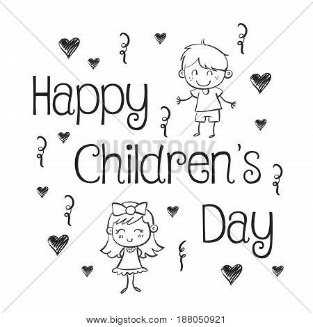 Hand draw childrens day collection stock vector art