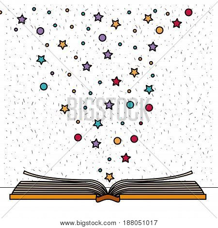 white background with book open with sparkles of stars and dots vector illustration