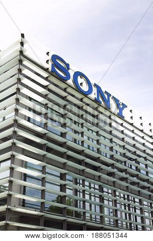 Prague, Czech Republic - May 22: Sony Company Logo On Headquarters Building On May 17, 2017 In Pragu