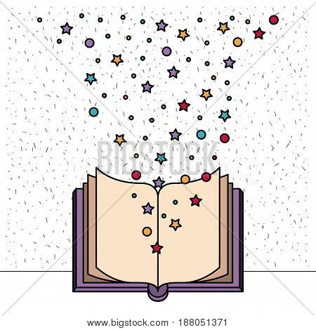 white background with front view book open with sparkles of stars and dots vector illustration