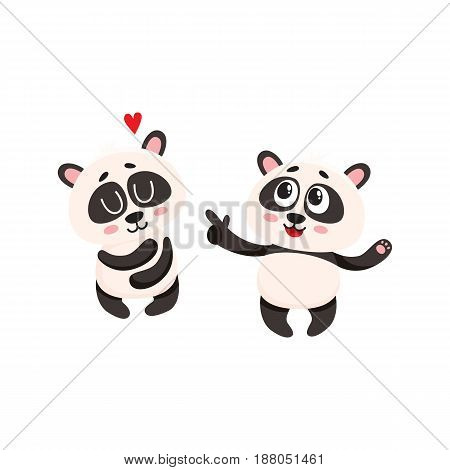 Two cute, funny smiling baby panda characters, one pointing to another hugging itself, cartoon vector illustration isolated on white background. Couple of cute panda bear characters, mascots, friends