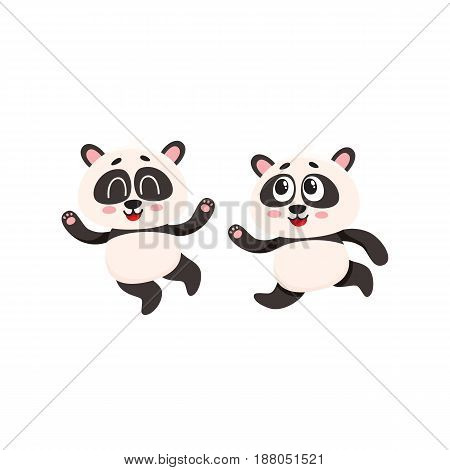 Two cute and funny baby panda characters running, hurrying, jumping happily, cartoon vector illustration isolated on white background. Couple of cute little panda bear characters, mascots running