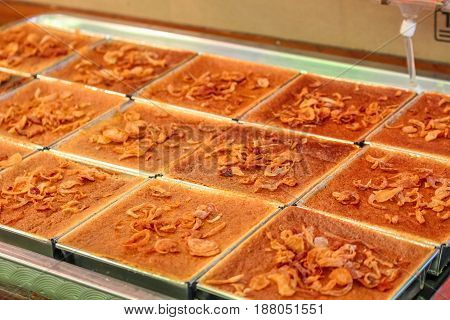 Thai Style Desserts In A Square Plates At The Market For Sell