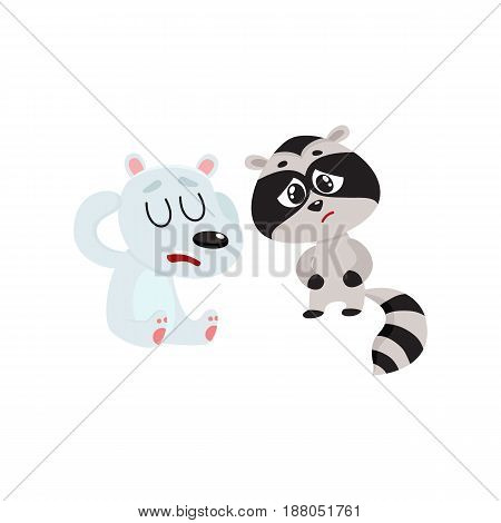 Sick baby raccoon and polar bear having headache, suffering from stomach ache, cartoon vector illustration isolated on white background. Sick little raccoon and bear having stomach pain, head ache
