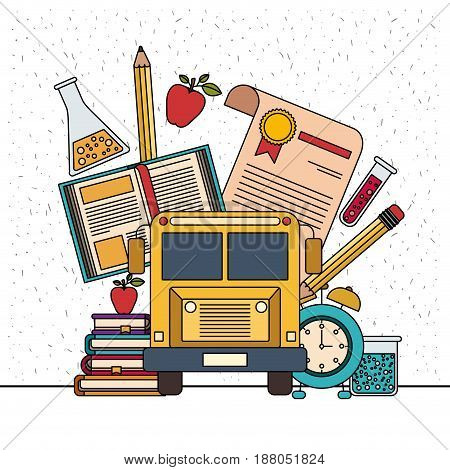 white background with sparkles of color set college education items with educational elements vector illustration