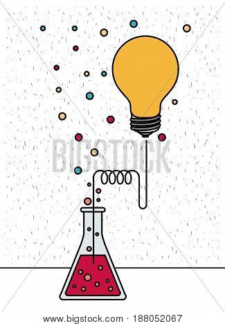 white background with sparkles of glass beaker connected to light bulb and dots vector illustration
