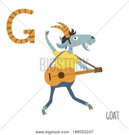 Vector illustration of cute kids animal alphabet. Letter G for the Goat and Guitar. Cartoon goat playing music on guitar isolated on white background for child illustration, baby shower, birtday card, invitiation, T-shirt. Preschool and school reading stu