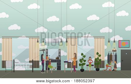 Vector illustration of nursery interior, young mothers feeding, swaddling and dressing their kids. Childcare and parenting flat style design elements.